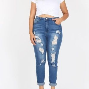 ultrachicfashion.com Jeans - ⬇ High Waist Distressed Jeans